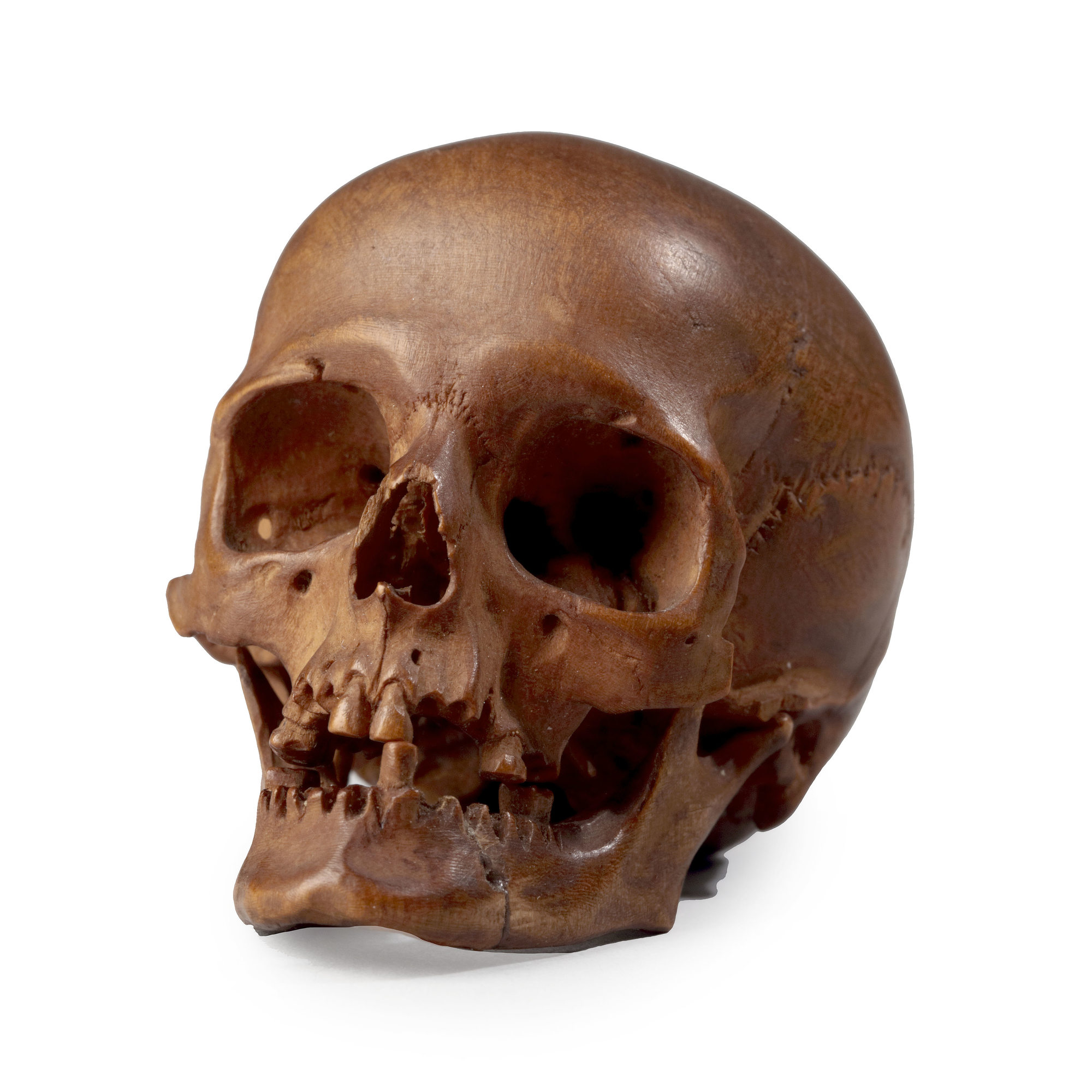 An Exceptional Finely Carved Boxwood Miniature Of A Human Skull By